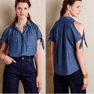 Anthro Holding Horses Cold Shoulder Chambray Dot